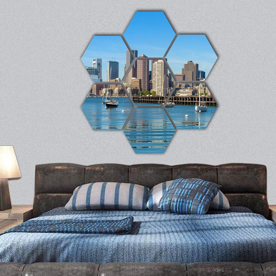 Boston Skyline View From Piers Park Hexagonal Canvas Wall Art 1 Hexa / Small / Gallery Wrap Tiaracle