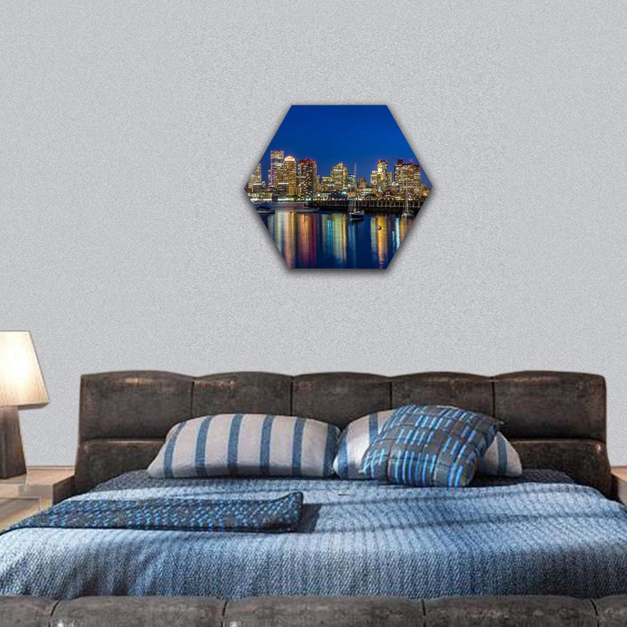 Boston Skyscrapers At Twilight Hexagonal Canvas Wall Art 7 Hexa / Small / Gallery Wrap Tiaracle