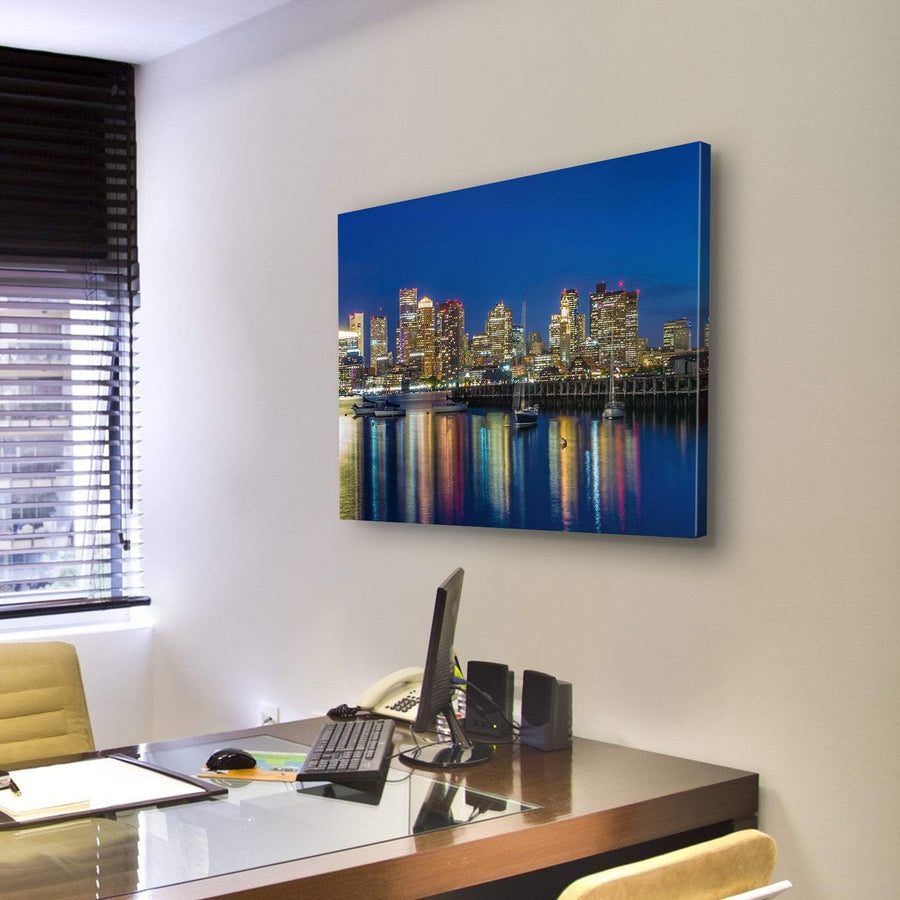 Boston Downtown Skyline Skyscraper Canvas Panel Painting Tiaracle