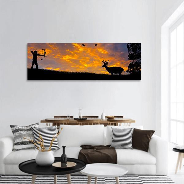 Bow Hunter Aiming At A White Tail Buck Panoramic Canvas Wall Art 3 Piece / Small Tiaracle