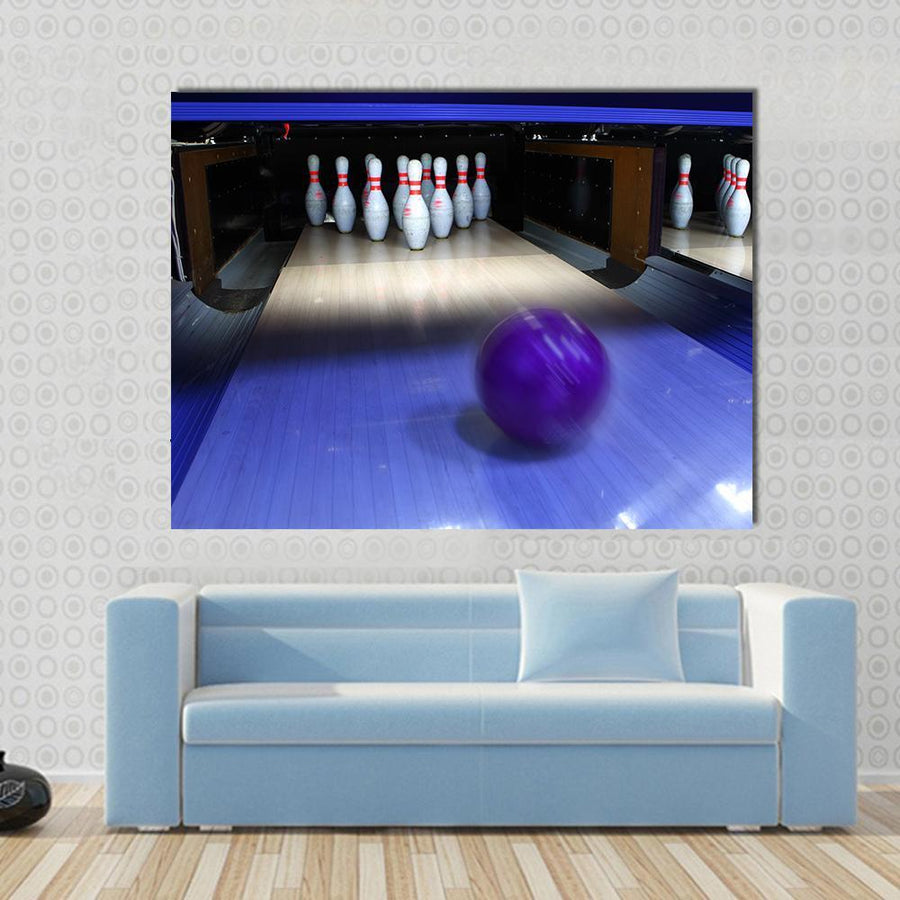 Bowling Ball And Pins Multi Panel Canvas Wall Art 4 Horizontal / Small / Gallery Wrap Tiaracle