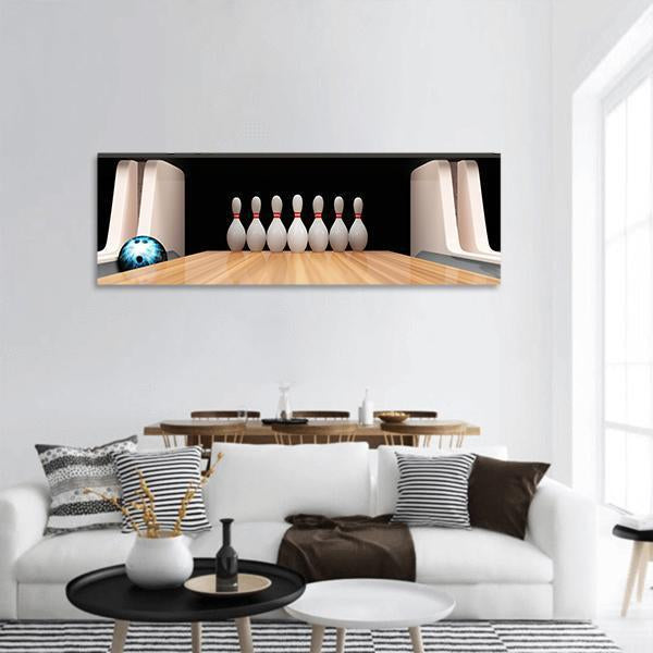 Bowling Ball And Pins On Wooden Lane Panoramic Canvas Wall Art 3 Piece / Small Tiaracle