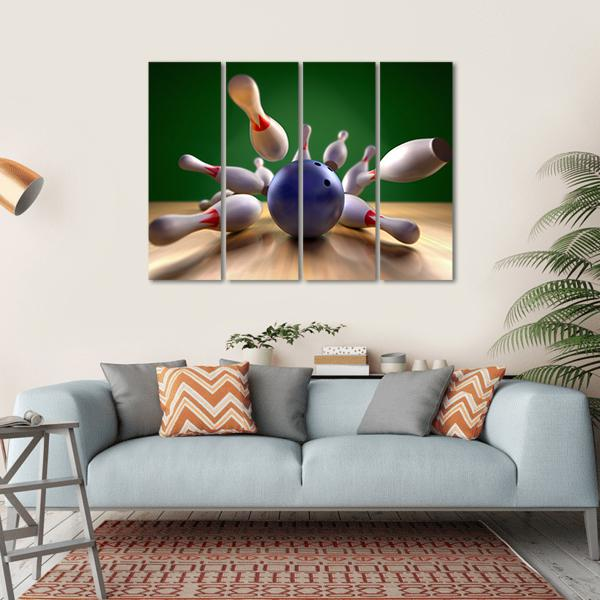 Bowling Ball Crashing Into Pins Multi Panel Canvas Wall Art 1 Piece / Small / Gallery Wrap Tiaracle