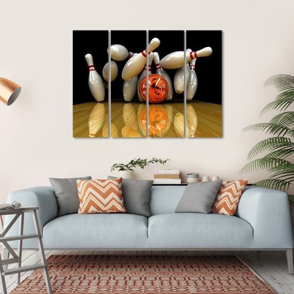 Bowling Ball Swirling Strike With Bowling Pins Multi Panel Canvas Wall Art 1 Piece / Small / Gallery Wrap Tiaracle