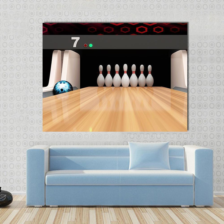 Bowling Pins On Wooden Lane Multi Panel Canvas Wall Art-4 Horizontal-Small-Gallery Wrap-Tiaracle