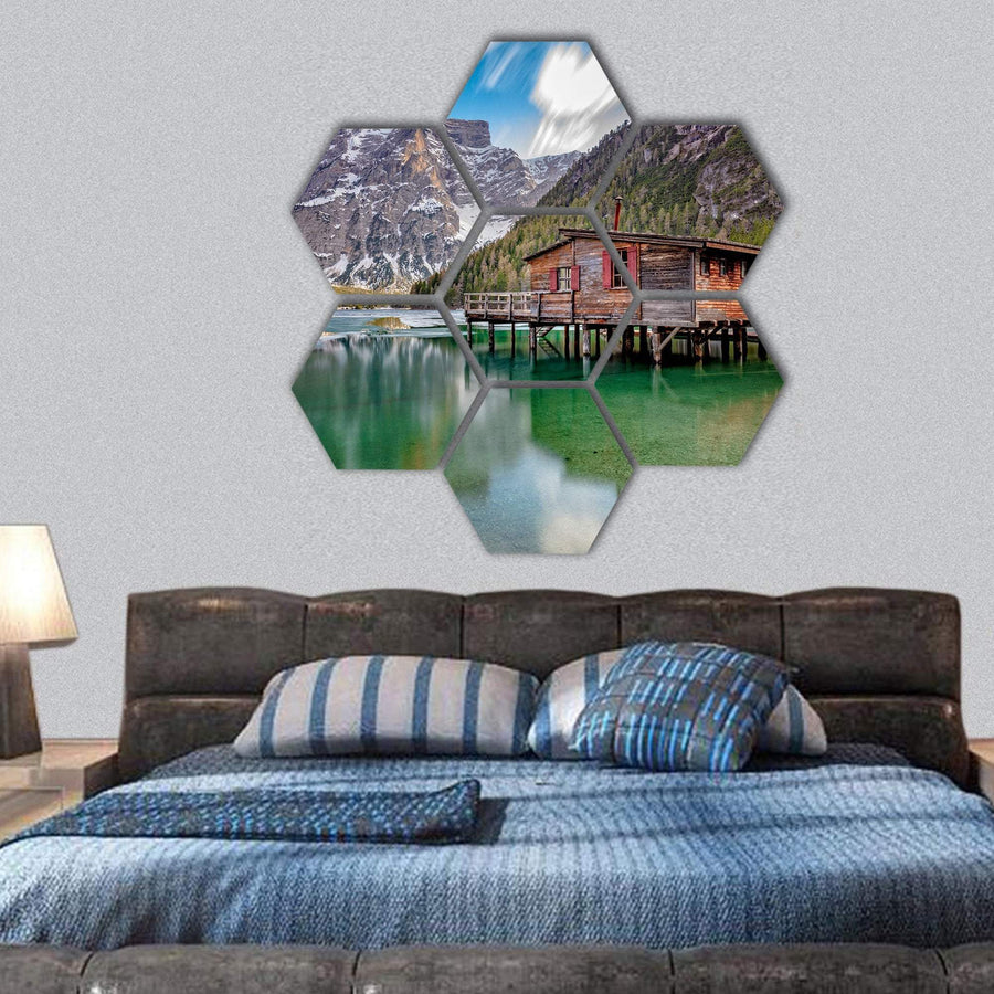 Braies Lake On Italian Alps Hexagonal Canvas Wall Art 1 Hexa / Small / Gallery Wrap Tiaracle