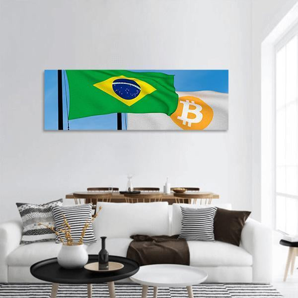 Brazil Flag And Bitcoin Flag Panoramic Canvas Wall Art 3 Piece / Small Tiaracle