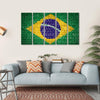 Brazil Flag On Brick Wall Multi Panel Canvas Wall Art 5 Horizontal / Small / Gallery Wrap Tiaracle