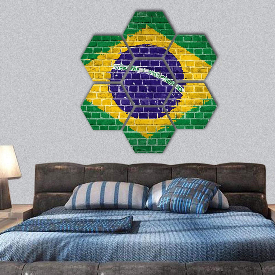 Brazil Flag Painted On A Brick Wall Hexagonal Canvas Wall Art 1 Hexa / Small / Gallery Wrap Tiaracle