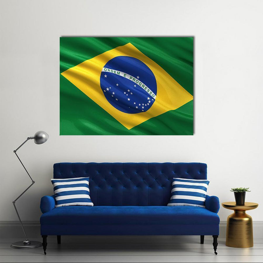 Brazil Flag Waving Multi Panel Canvas Wall Art-5 Horizontal-Small-Gallery Wrap-Tiaracle