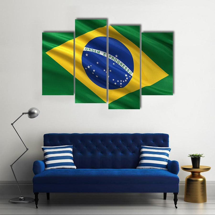 Brazil Flag Waving In The Wind Multi Panel Canvas Wall Art 1 Piece / Medium / Canvas Tiaracle