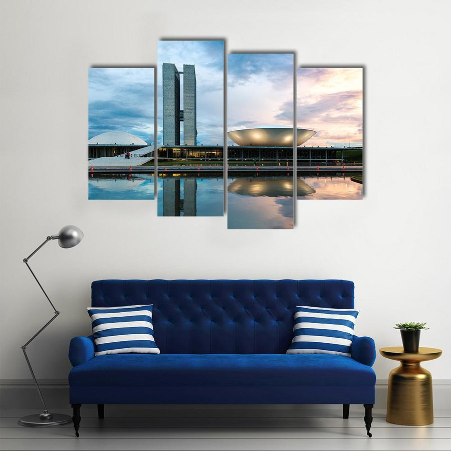 Brazilian National Congress In Brasilia Multi Panel Canvas Wall Art 5 Pieces(A) / Medium / Canvas Tiaracle