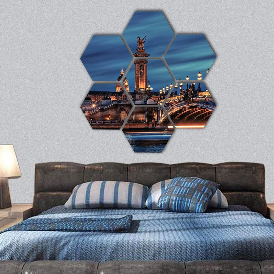 Bridge Alexandre III In Paris Hexagonal Canvas Wall Art 1 Hexa / Small / Gallery Wrap Tiaracle