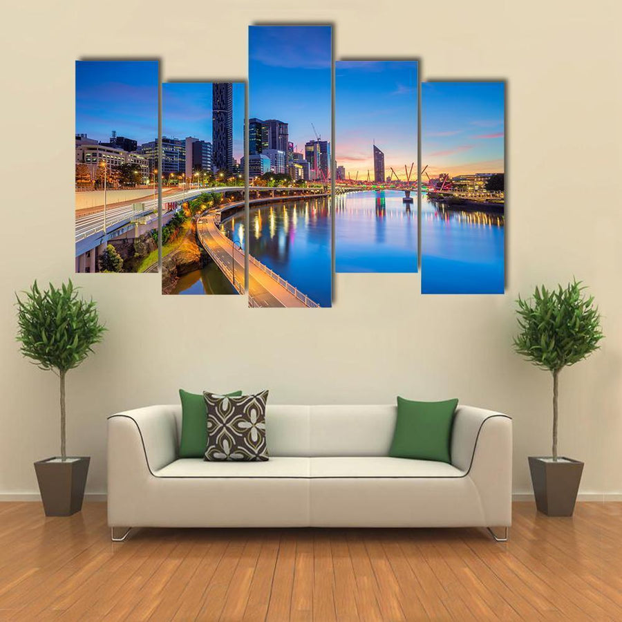 Brisbane Skyline At Sunrise Multi Panel Canvas Wall Art 4 Pieces / Medium / Canvas Tiaracle