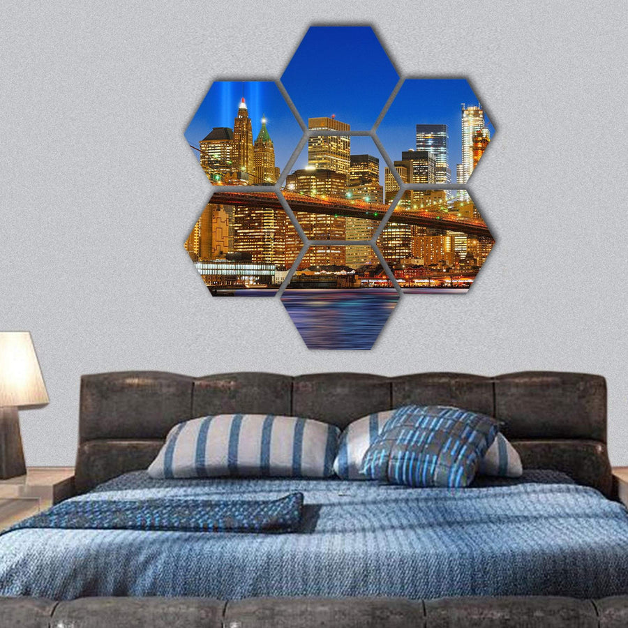 Brooklyn Bridge And Lower Manhattan Across East River Hexagonal Canvas Wall Art 1 Hexa / Small / Gallery Wrap Tiaracle