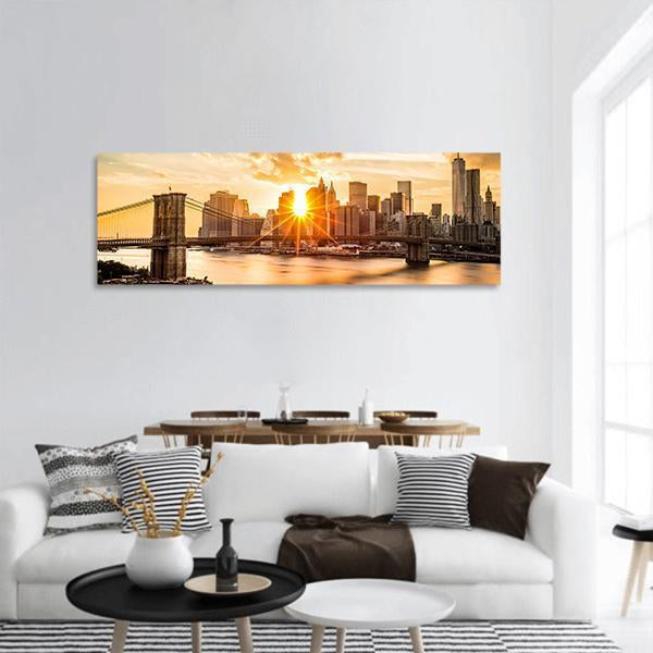 Brooklyn Bridge And Lower Manhattan At sunset Panoramic Canvas Wall Art 3 Piece / Small Tiaracle