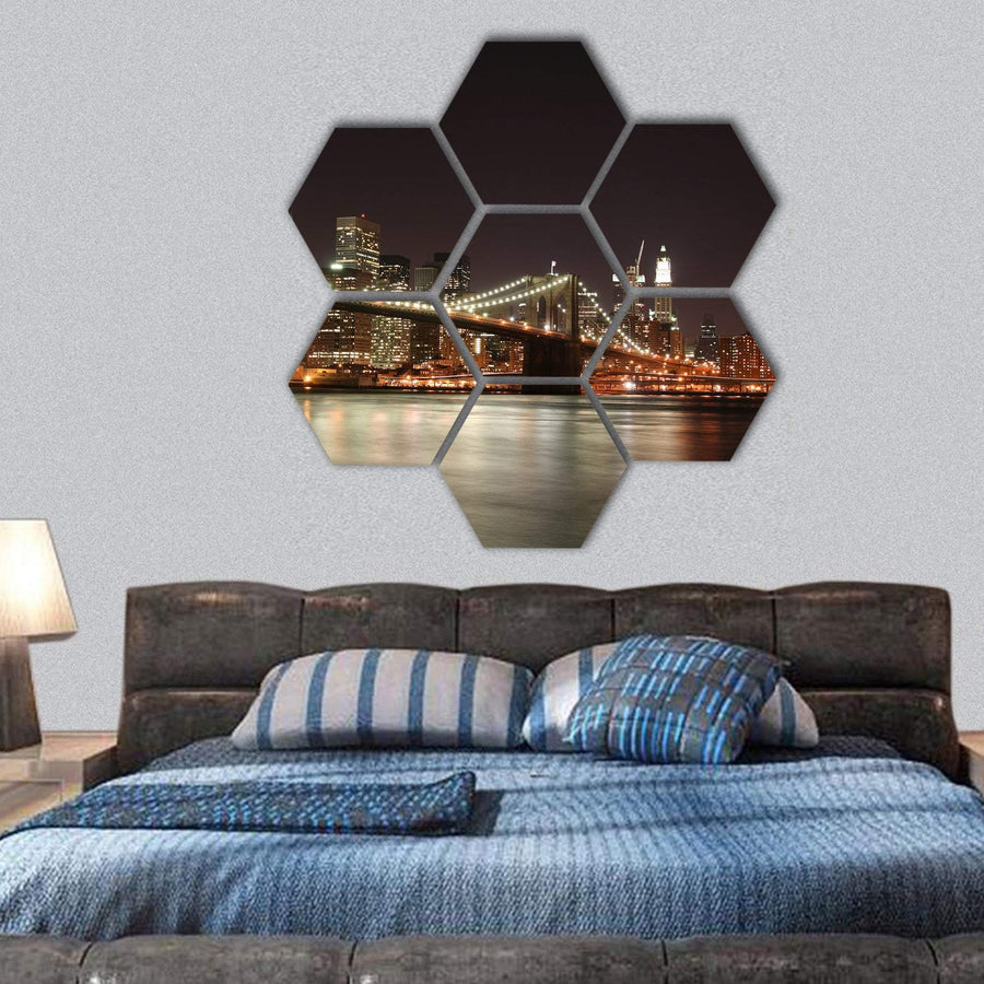 Brooklyn Bridge And Manhattan Skyline At Night Hexagonal Canvas Wall Art 1 Hexa / Small / Gallery Wrap Tiaracle