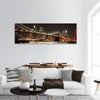 Brooklyn Bridge And Manhattan Skyline At Night Panoramic Canvas Wall Art 1 Piece / Small Tiaracle