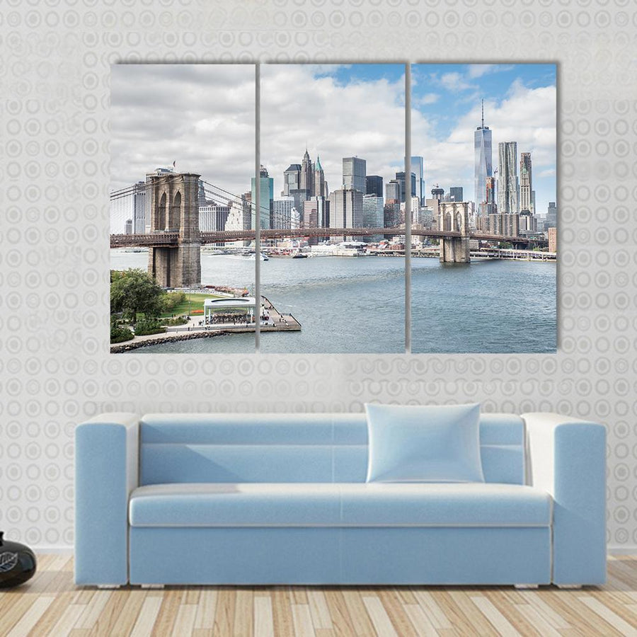 Skyline Of Manhattan And Brooklyn Bridge, New York Canvas Panel Painting Tiaracle