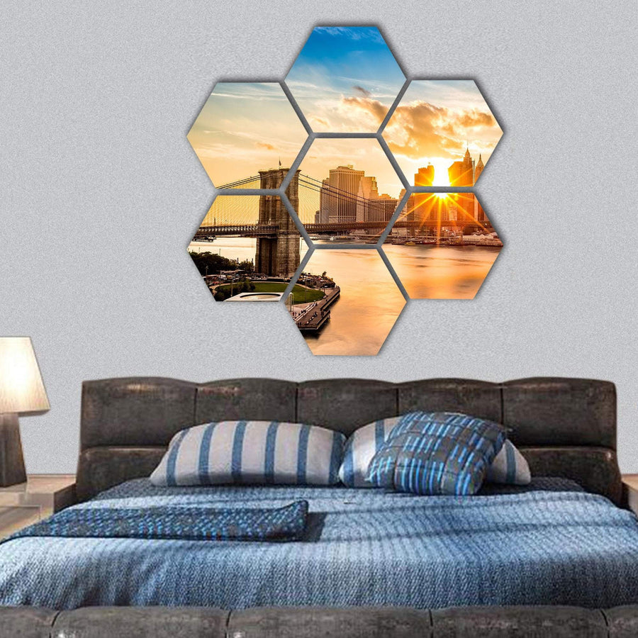 Brooklyn Bridge Skyline Hexagonal Canvas Wall Art 1 Hexa / Small / Gallery Wrap Tiaracle