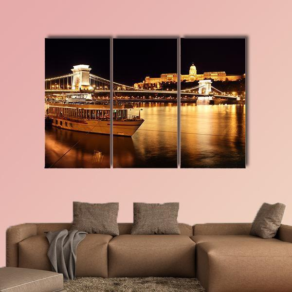 Budapest And Chain Bridge In Hungary Multi Panel Canvas Wall Art 4 Pieces / Medium / Canvas Tiaracle