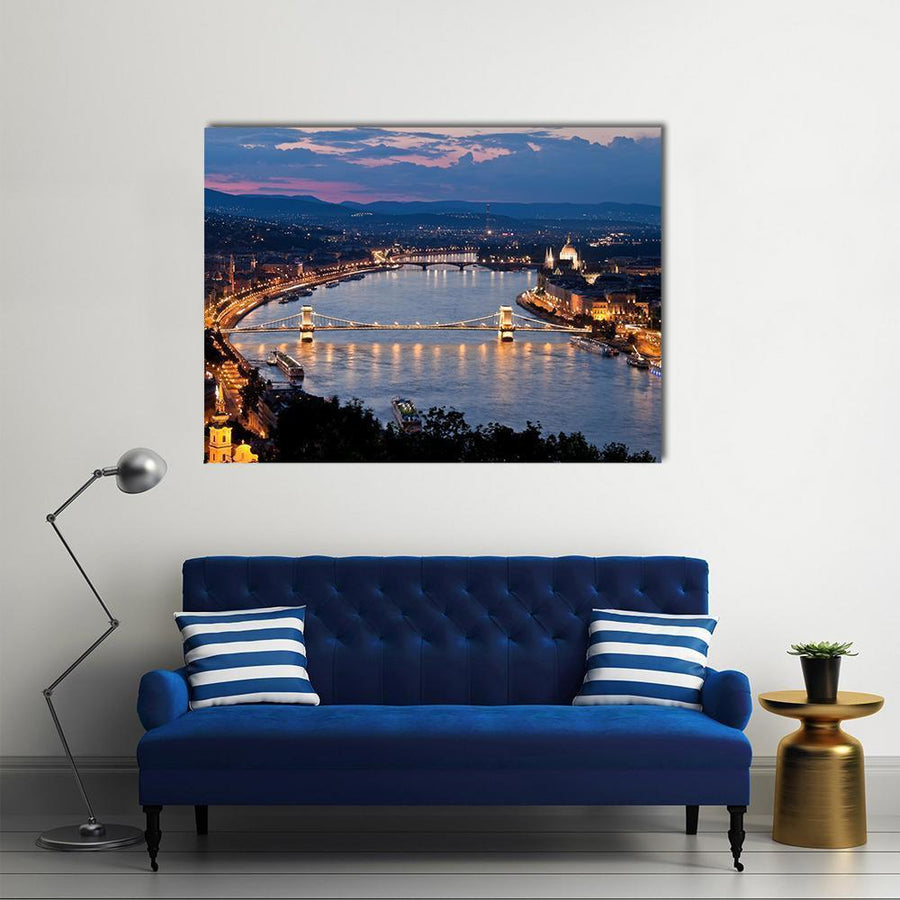 Budapest City, Hungry Multi Panel Canvas Wall Art 5 Horizontal / Small / Gallery Wrap Tiaracle