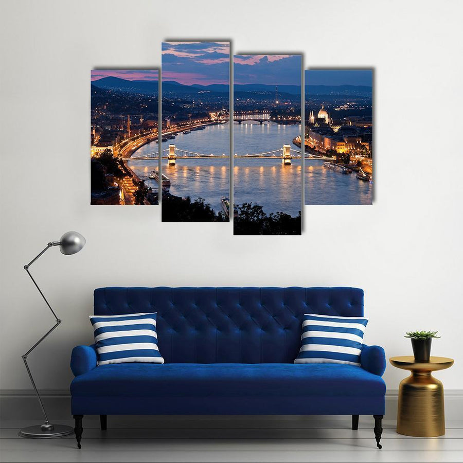 City View Of Budapest In Hunagry Multi Panel Canvas Wall Art 3 Pieces / Small / Gallery Wrap Tiaracle