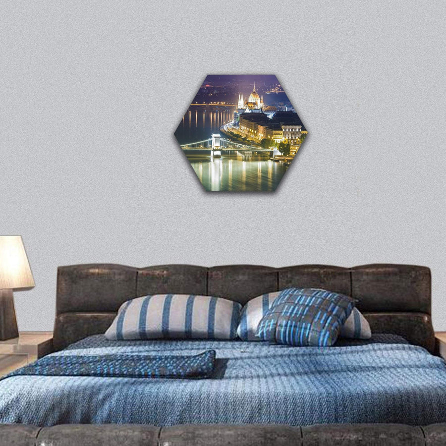 Budapest City View At Night Hexagonal Canvas Wall Art 7 Hexa / Small / Gallery Wrap Tiaracle