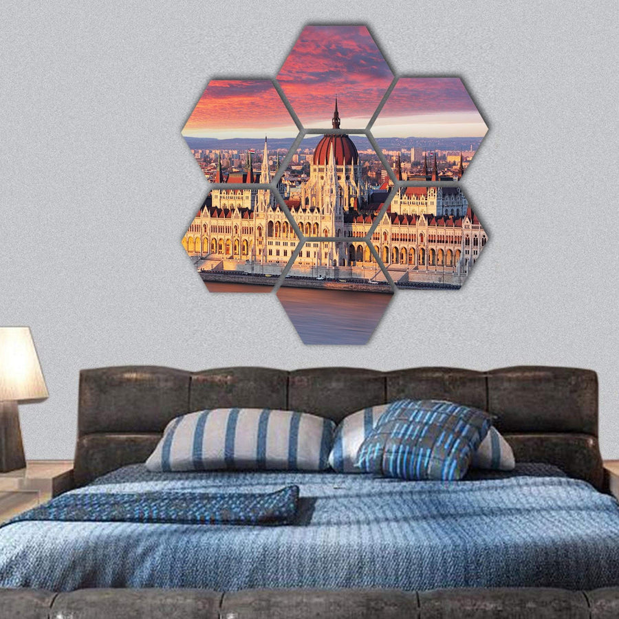 Budapest Parliament At Dramatic Sunrise Hexagonal Canvas Wall Art 1 Hexa / Small / Gallery Wrap Tiaracle