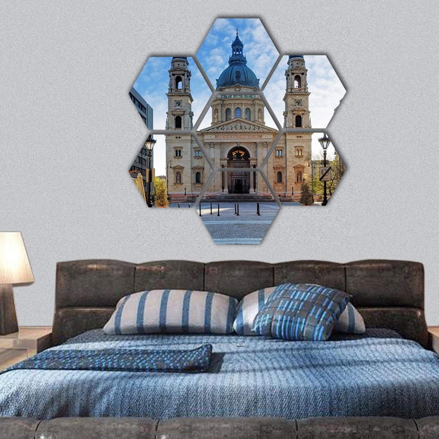 Budapest St Stephen's Basilica In Hungary Hexagonal Canvas Wall Art 1 Hexa / Small / Gallery Wrap Tiaracle