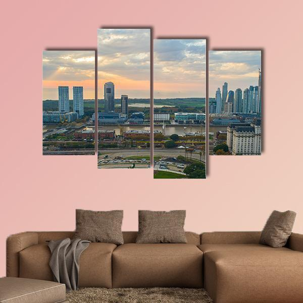 Buenos Aires Cityscape Multi Panel Canvas Wall Art 3 Pieces / Small / Canvas Tiaracle