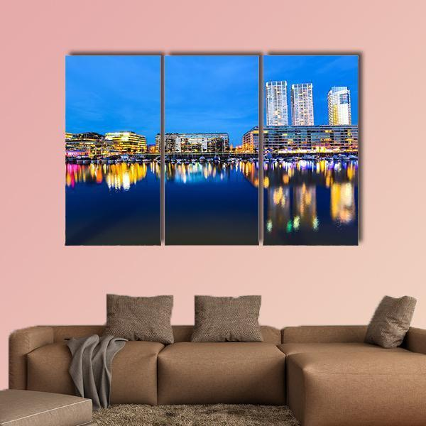 Buenos Aires In Argentina At Night Multi Panel Canvas Wall Art 3 Pieces / Small / Canvas Tiaracle