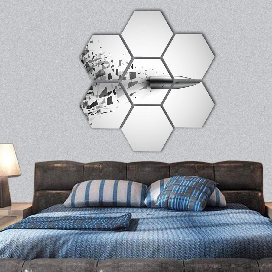 Bullet Shot Smashed The Glass In The Splinters Hexagonal Canvas Wall Art 1 Hexa / Small / Gallery Wrap Tiaracle