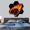 Burning Hockey Puck Hexagonal Canvas Wall Art 7 Hexa / Small / Gallery Wrap Tiaracle