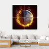 Burning Planet Earth Multi Panel Canvas Wall Art 4 Square / Small / Gallery Wrap Tiaracle
