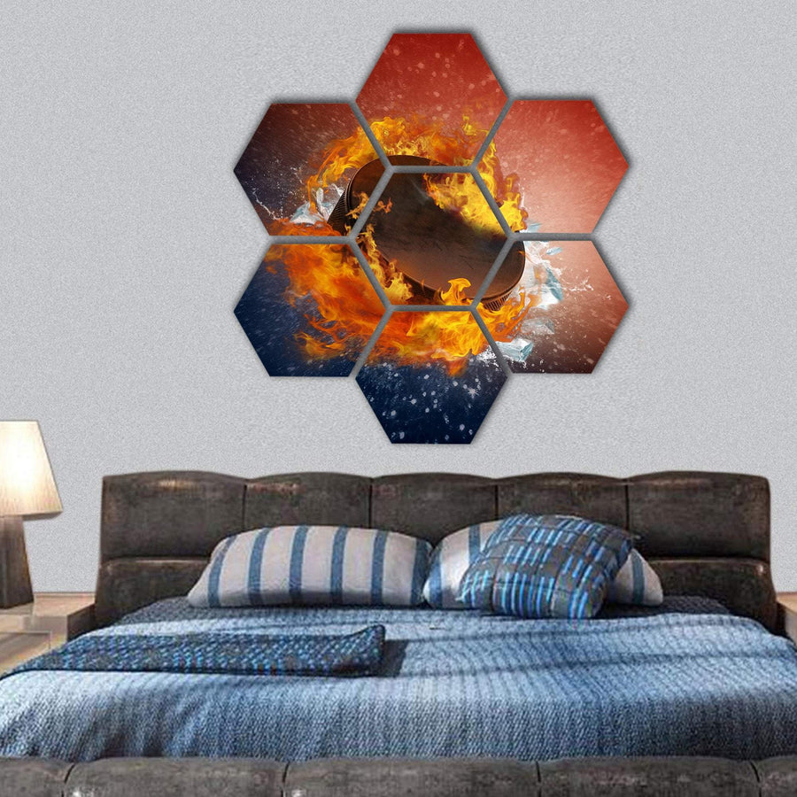 Burning Puck With Shards Of Ice Hexagonal Canvas Wall Art 1 Hexa / Small / Gallery Wrap Tiaracle