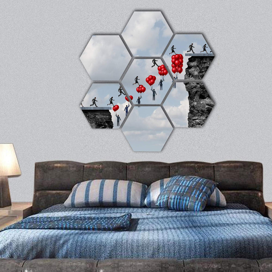 Business Teamwork Success Hexagonal Canvas Wall Art 1 Hexa / Small / Gallery Wrap Tiaracle