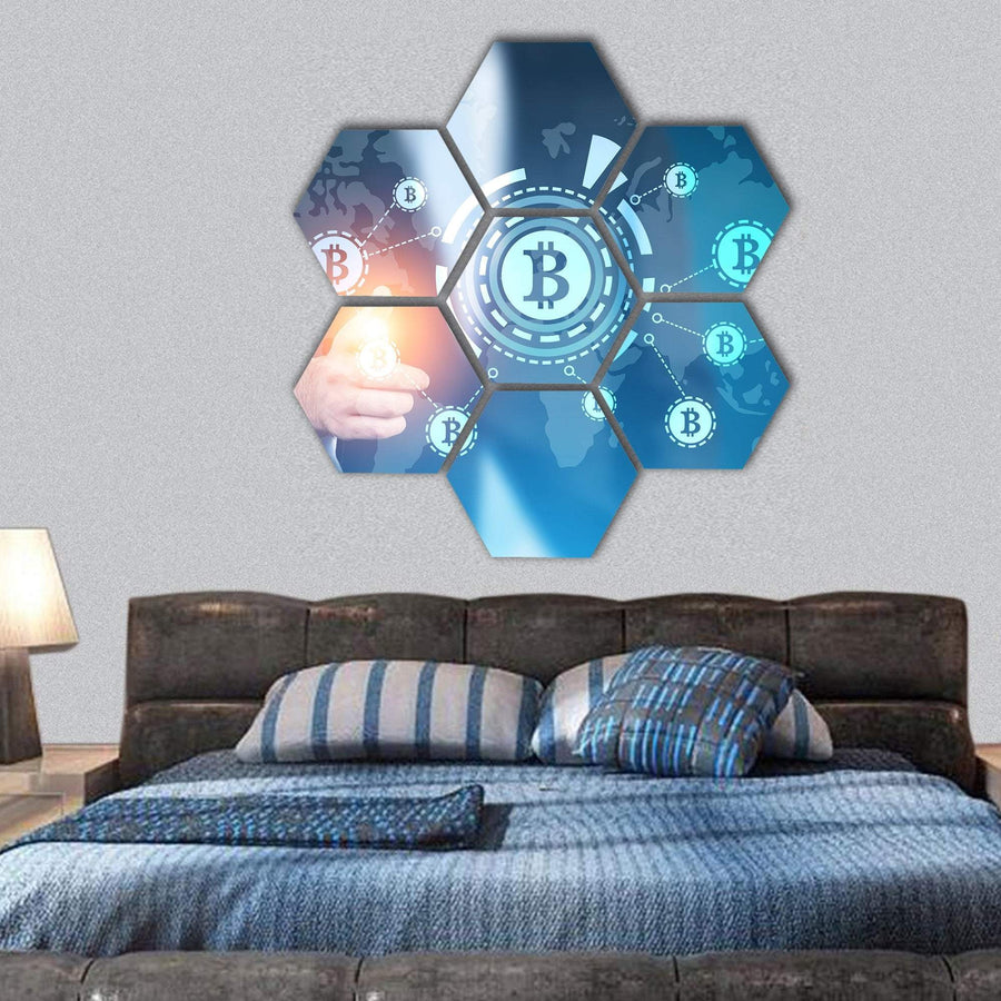 Businessman Pointing At A Bitcoin Hexagonal Canvas Wall Art 1 Hexa / Small / Gallery Wrap Tiaracle