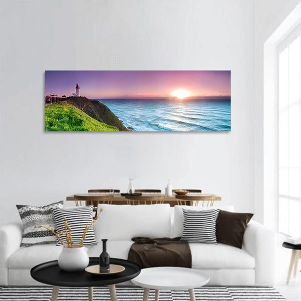 Byron Bay During Sunrise Panoramic Canvas Wall Ar 3 Piece / Small Tiaracle