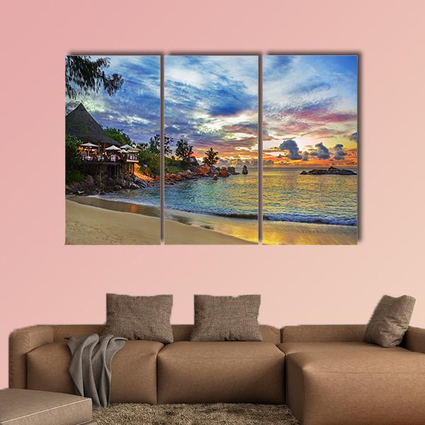 Cafe On Tropical Beach At Sunset Multi Panel Canvas Wall Art 5 Pieces(A) / Medium / Canvas Tiaracle