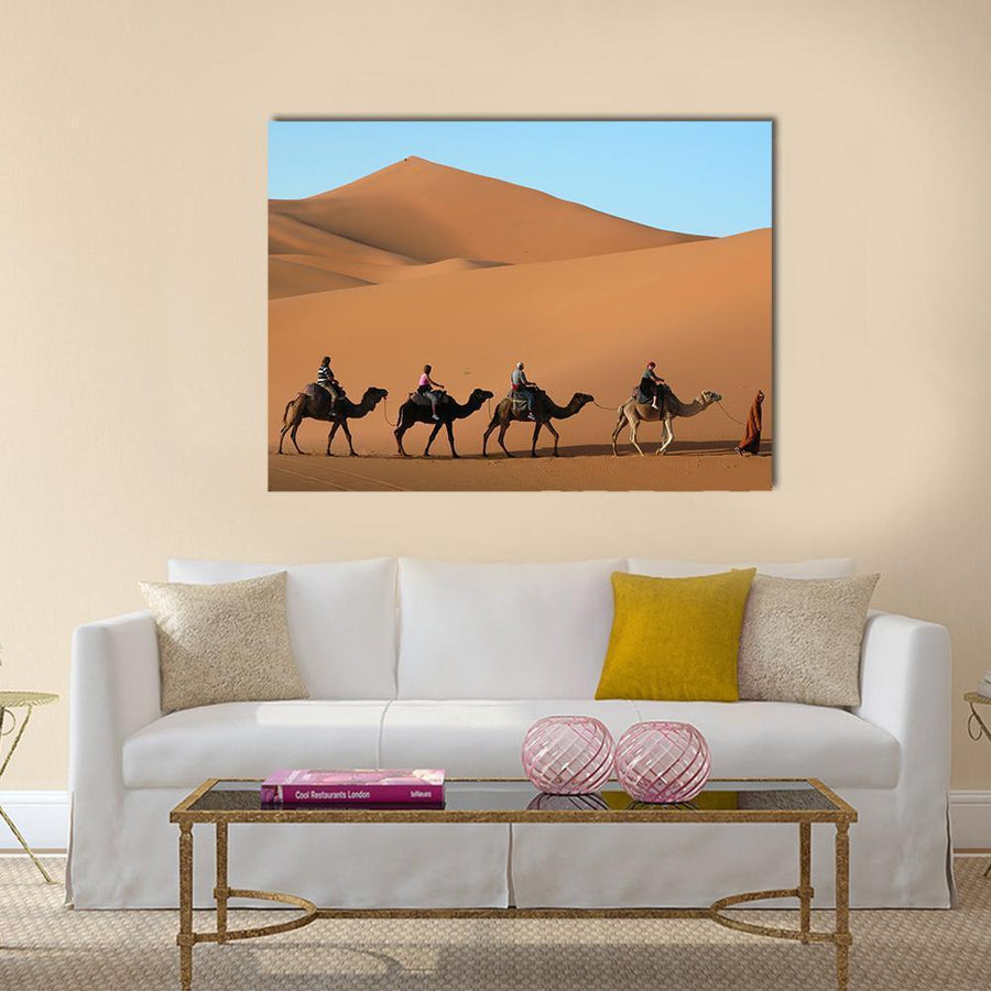 Camel Caravan Going Through The Sand Dunes In The Sahara Desert, Morocco Canvas Panel Painting Tiaracle