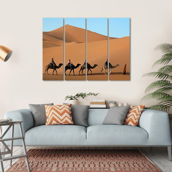 Camel Caravan In Morocco Multi Panel Canvas Wall Art-1 Piece-Small-Gallery Wrap-Tiaracle