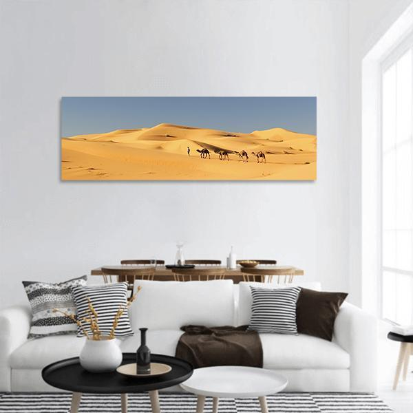 Camel Caravan In Sahara Desert Panoramic Canvas Wall Art 3 Piece / Small Tiaracle