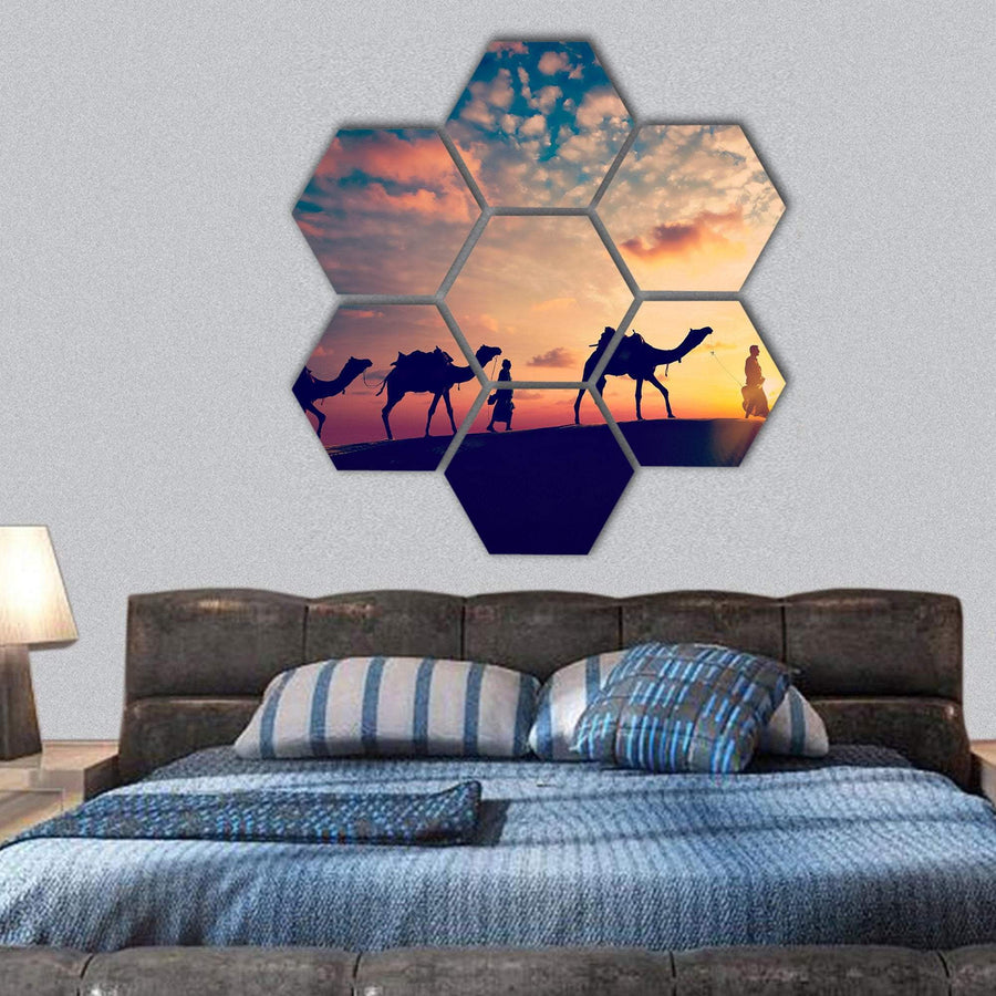 Camel Drivers With Camels Silhouettes Hexagonal Canvas Wall Art 1 Hexa / Small / Gallery Wrap Tiaracle
