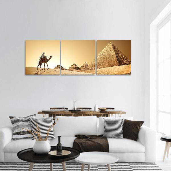 Camel Near Pyramids In Desert Panoramic Canvas Wall Art 1 Piece / Small Tiaracle