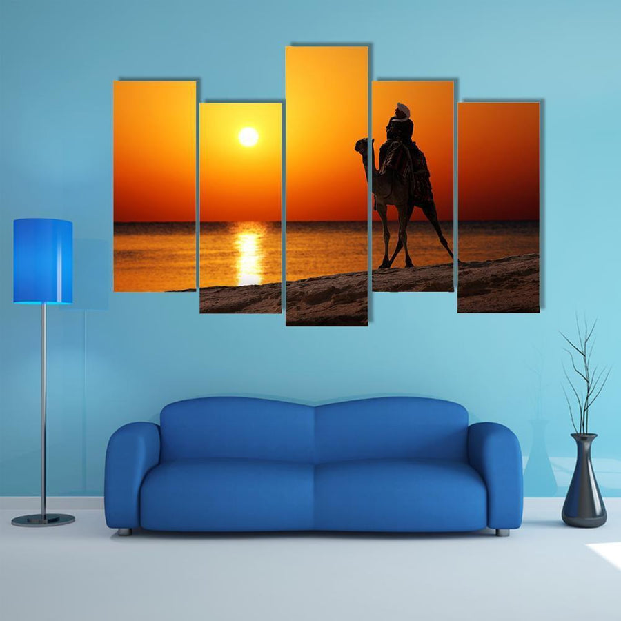 Bedouin On Camel Silhouette Multi Panel Canvas Wall Art 1 Piece / Medium / Canvas Tiaracle