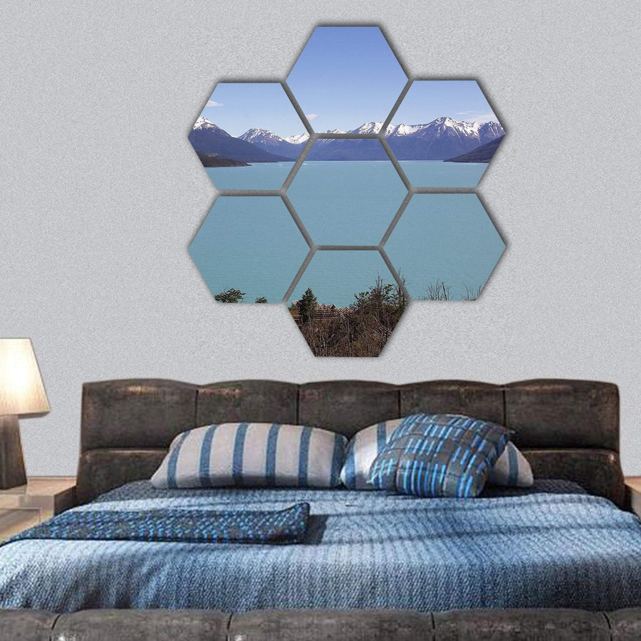 Canal De Los Tempanos In Argentino Lake Hexagonal Canvas Wall Art 1 Hexa / Small / Gallery Wrap Tiaracle