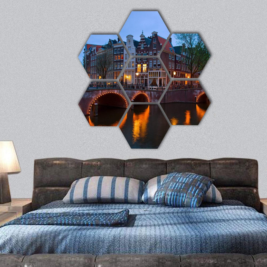Canals Of Amsterdam Hexagonal Canvas Wall Art 1 Hexa / Small / Gallery Wrap Tiaracle