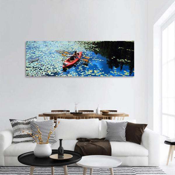 Canoeing In A Lake With Water Lilies Panoramic Canvas Wall Art 3 Piece / Small Tiaracle