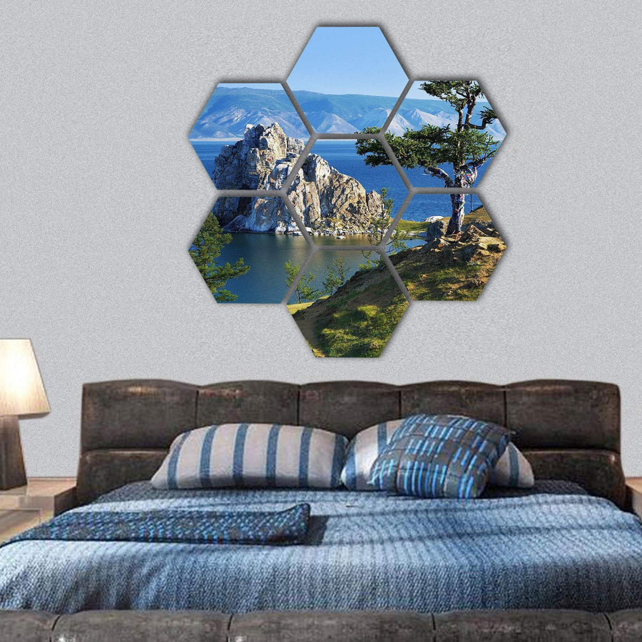 Cape Burhan Of Olkhon Island On Lake Baikal Hexagonal Canvas Wall Art 1 Hexa / Small / Gallery Wrap Tiaracle